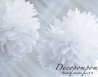 Medium size sparkling - glitter  or metallic  tissue paper pom poms  - party decorations - christmas decorations