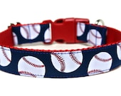 "Baseball Dog Collar 1"" Sports Dog Collar"