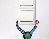"blue hanging monster light switch vinyl wallsticker / wall decal ""hanging monster"" 10x13 cm"