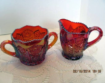 Carnival Glass Creamer and Sugar by Indiana Glass / Red Sunset Heirloom Collection