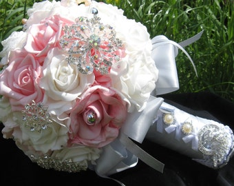 Brooch bouquet, silver and pink,  wedding, broach bouquet,bridesmaid,brides bouquet,bouquet, pink/silver bouquet,silver bouquet,
