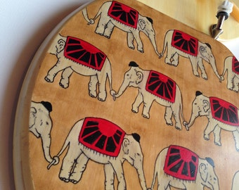 Toilet Seat Handmade Bamboo Wood Elephant Illustrated Stained Bowler 'Phants Art Toilet Seats Home & Bathroom Décor