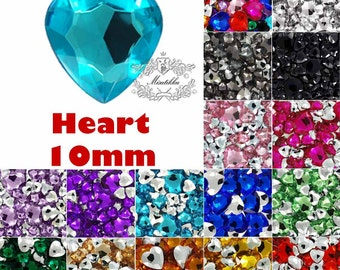 40 -200 PCS 10mm Mixed Color Heart Pointed Back Rhinestone Assorted Heart Shape Crystal Clear Yellow Acrylic Cabochon Pendant Findings HD10