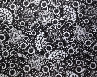 Evening Blooms Cotton Fabric Riley Blake Black White Large Floral Paisley Flower Fat Quarter/Metre FREE UK POSTAGE