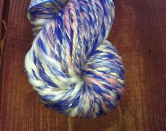 Handspun 2-Ply Wool Yarn-Approx. 72 Yards-Purple, Pink, and White