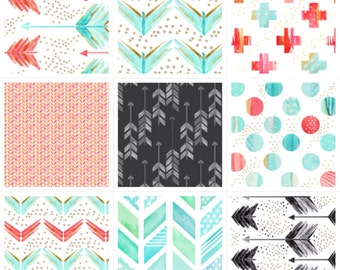 Boutique Cribset in Arrows, Herringbone, and Chevron using Mint, Coral, and Grey