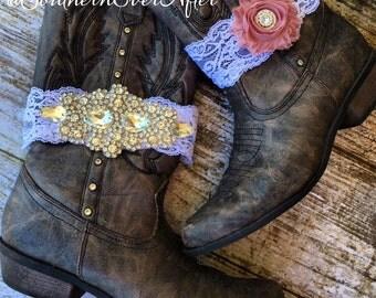 RHINESTONE LACE GARTER set / wedding garter / lace garter set / Rustic garter