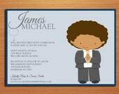Praying Boy First Communion Customized Printable Invitation Cards DIY