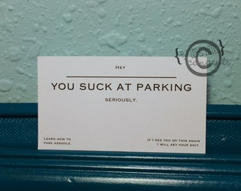 "Packs of 20 - ""You Suck At Parking"" Cards - Vulgar"
