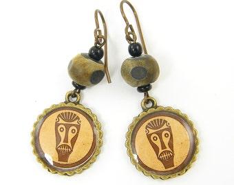 Tribal Mask Earrings, Rustic African Mask Earrings, Brown Bead Earrings Tan Brown Brass Ethnic Earrings |EC3-32