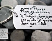 Personalized Key Chain - You're Braver Than You Believe - Hand Stamped Keychain - Encouragement Gift - Dog Tag Keychain