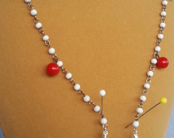 Red, White & Blue Beads, Beaded Eyeglass holder-lanyard or necklace