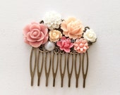 Prom Headpiece Pink Hair Comb Peach Blush Floral Flower Hair Pin Pastel Pink Customized Grad Night Prom Accessories Party Shabby Chic