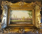 Reserved for Chris  19th Century European Miniature Landscape Oil Painting