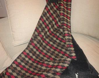 Contemporary Throw, Harlequin Diamond Pattern, Black Chenille Blanket, Sofa Throw,  Luxurious Bedding,  Designer Accent, Handmade Throw
