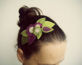 Embroidered felt headband with flowers and leaves, embroidered floral hairband, embroidered headband, hair fascinator; made to order