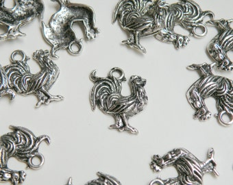 10 Rooster charms Chinese Zodiac Year of the Rooster antique silver 20x18mm PA18030