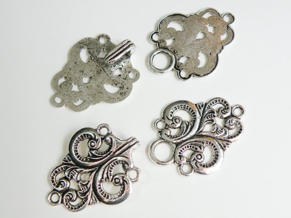 2 Ornate filigree hook and eye clasps antique silver steampunk 67x28mm DB34333