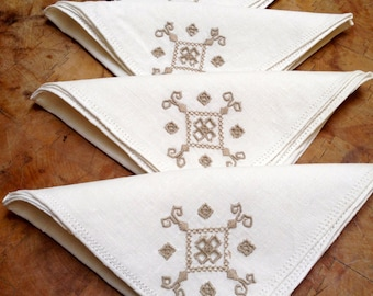 Four Linen Napkins, Cream with Taupe Hardinger Embroidery