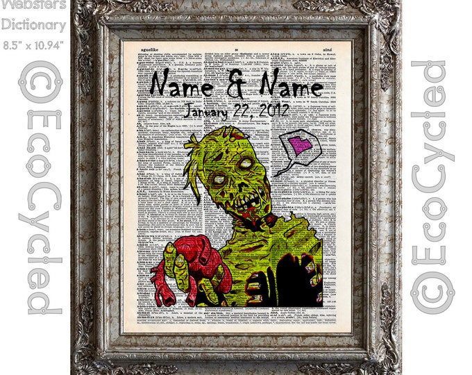 Zombie Heart Love Customized w/ Names & Date on Vintage Upcycled Dictionary Art Print Book Art Print Wedding Zombie Apocalypse Anniversary