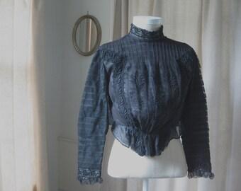 Petite Victorian Bodice ~ black lace and net