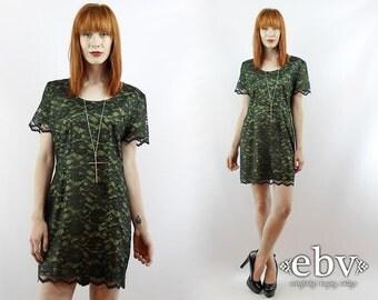 90s Grunge Dress 90s Dress Lace Bandage Dress Lace Mini Dress Party Dress M L Green Lace Dress Goth Dress