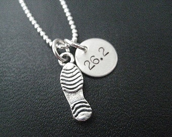RUN 26.2 Running Shoe Sterling Silver Necklace - 16, 18 or 20 inch - Shoe Print Charm or Running Shoe Charm - Marathon Necklace - Run 26.2