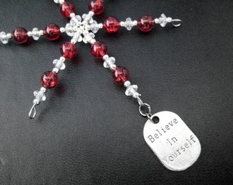 BELIEVE IN YOURSELF Pewter Charm Ornament - Motivational / Inspirational Christmas Ornament / Gift Tag Choose Color - Believe Ornament