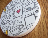 cup holder coaster, wine glass coaster - hand stamped bisque tile, absorbent -- coffee and tea cup design