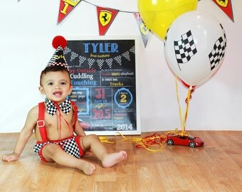 race car cake smash outfit, boy first birthday outfit,  cars birthday outfit, racing cake smash set, racing diaper cover tie and party hat