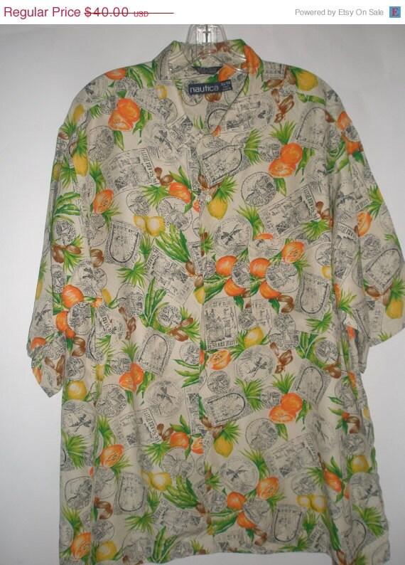 "Great 90s Vintage Nautica Surfer Shirt-Hawaii Retro Mens Man Aloha Shirt-Hotel Travel Stickers Motif-Hawaiian Man Shirt-52"" Ches"