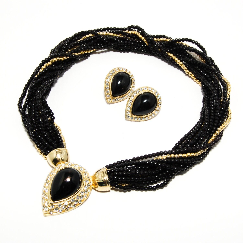 Torsade Necklace: Black Gold Rhinestone Torsade Necklace By VintageMeetModern
