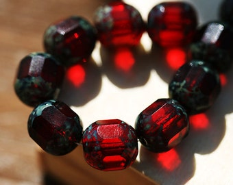 Picasso beads, Dark Red czech glass beads, fire polished, round cut - 10mm - 10Pc - 2068