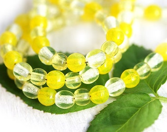 Sunny Yellow beads mix, Czech glass - round spacers, druk, small - 4mm - approx.95-100Pc - 0539