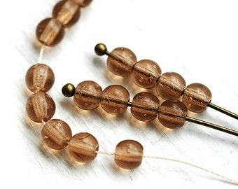 Neutral Brown Czech beads, picasso round spacers, smokey topaz, glass, druk - 4mm - approx.85-90Pc - 0348