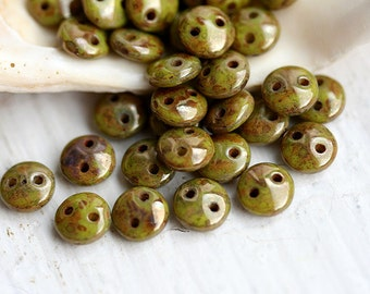 Czech mates Lentil beads - Green Bronze picasso - two holes, 6mm, czech glass, rustic - 50Pc - SP76