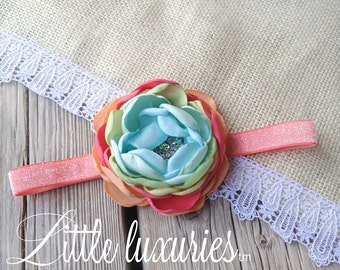 Lolly Pop Guild - Coral, Citrus, Lime and Mint Satin on a Sparkling Coral Band, Coral and Mint Flower, Coral and Citrus Headband