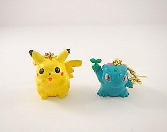 Very Cute Pikachu and Bulbasaur Pokemon Jewelry Earrings