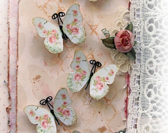 Reneabouquets Tiny Treasures Handcrafted Butterfly Set Shabby Pink Roses Glitter Glass Butterflies