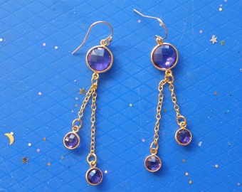 Amethyst Earrings! Faceted Amethyst, Gold Chain, Long Dangle Earrings! OOAK! FREE U.S. Ship! Birthday Gift, Anniversary Gift, Holiday Gift