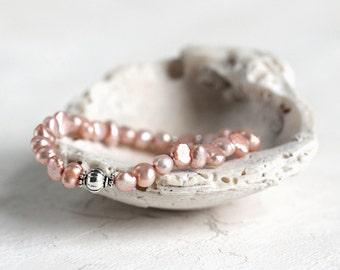 Pearl And Pewter Bracelet - June Birthstone - Feminine Boho Jewelry in Peach