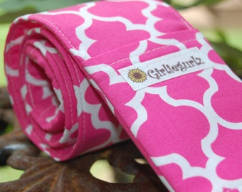 Camera Strap Cover, 20% off with coupon code, SLR or DSLR- 2 lens cap pockets, padding - Pink Quatrefoil- photography gift, birthday