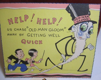 Very colorful unused art deco 1920's-30's  get well card humorous with man and woman chasing old man gloom  deco lined envelope