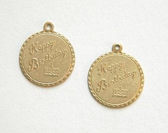 Happy Birthday Charm, Bracelet Charm, Brass Stamping 20mm x 22mm - 2 pcs. (r276)