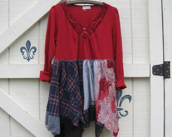 Boho Tunic, Lagan look tunic, rustic tattered gypsy cowgirl, funky Artsy clothing M, red plaid floral M