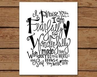 Psalm 139:14 Bible Verse Hand - drawn Art - Printed on 8x10 Matte Photo Paper