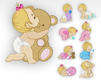 Baby Machine Embroidery Designs -  Baby Time Babies - Set of 10