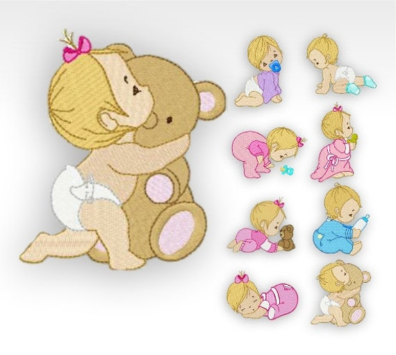 Baby machine embroidery designs time babies set of