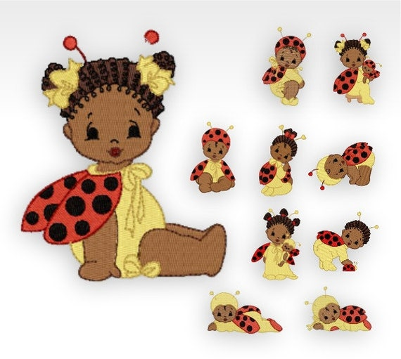 African baby machine embroidery designs bugs set of