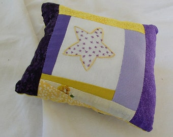 Pincushion, mini pillow, embroidered star, crazy patchwork